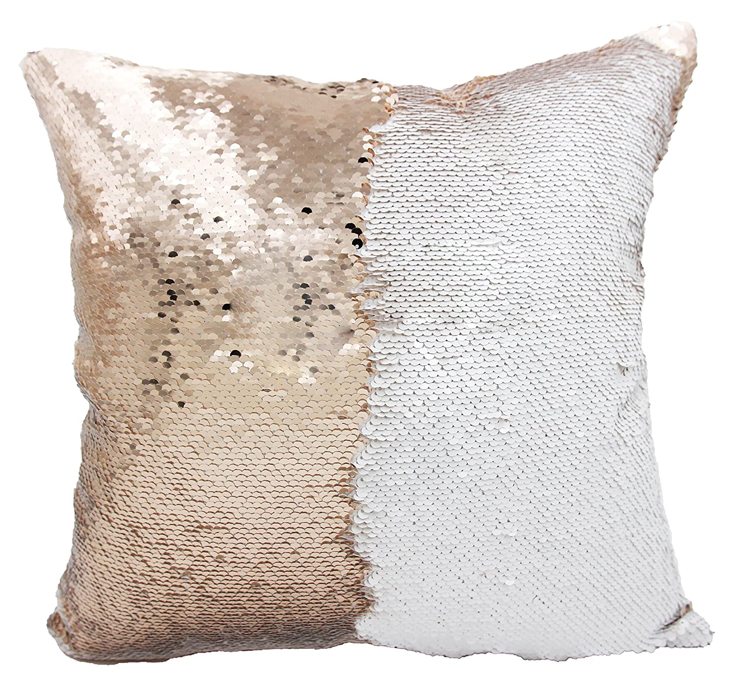 Personalized Mermaid Reversible Sequin, Customized Name Pillow White Rose-Gold