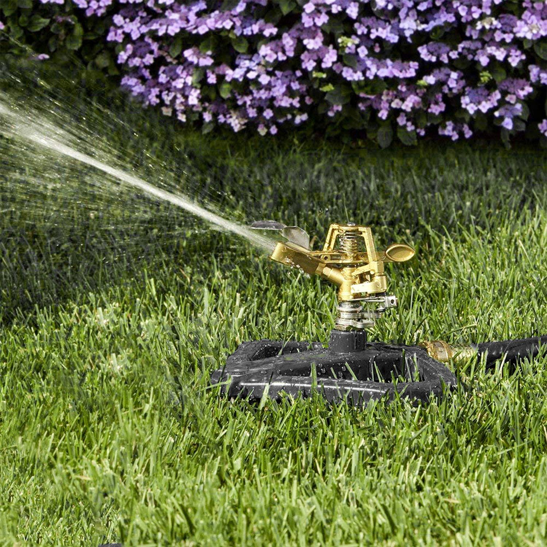 MPLUS Heavy Duty Brass Impact Sprinkler Adjustable Coverage Pattern Spray Distance Spray Flow for Garden Lawn M PLUS
