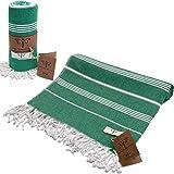 Smyrna Classical Series Original Turkish Beach Towel | 100% Cotton, Prewashed, 37 x 71 Inches | Peshtemal and Turkish Bath Towel for SPA, Beach, Pool, Gym and Bathroom (Green)