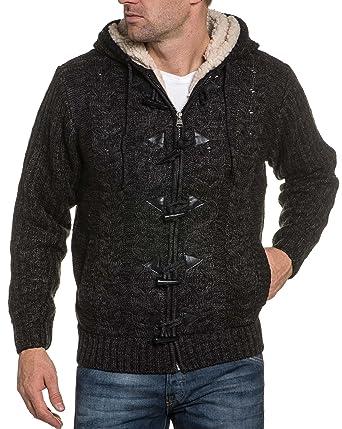 87bb142e7cdfc BLZ Jeans Gilet homme fourré gris foncé à capuche - couleur: Gris - taille: