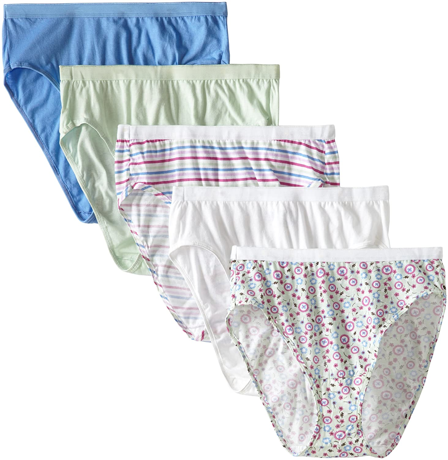 8f8c864e6dd Fruit of the Loom Womens 5 Pack Fit for Me Cotton Hi Cut Brief at Amazon  Women's Clothing store: Briefs Underwear