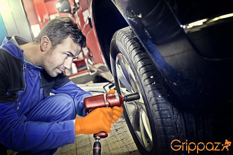 Tama/ño: L Grippaz 246 guantes de trabajo guantes protectores de nitrilo Naranja 50 piezas