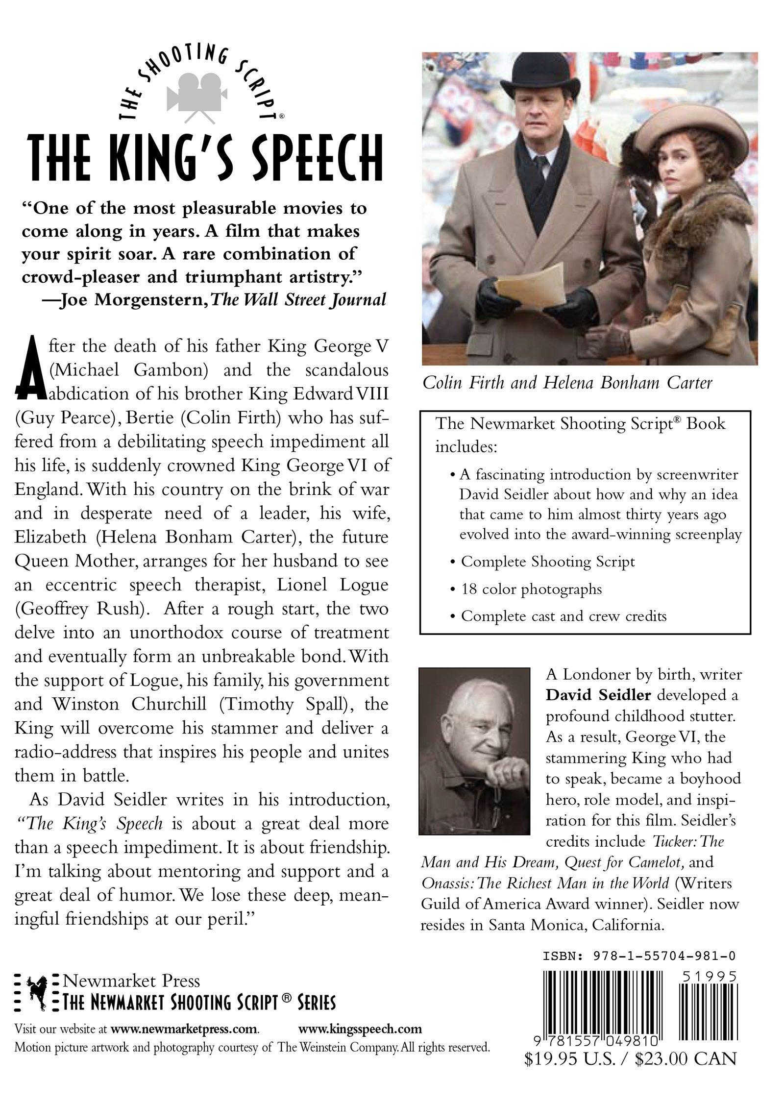 The King's Speech: The Shooting Script: David Seidler: 9781557049810:  Amazon.com: Books