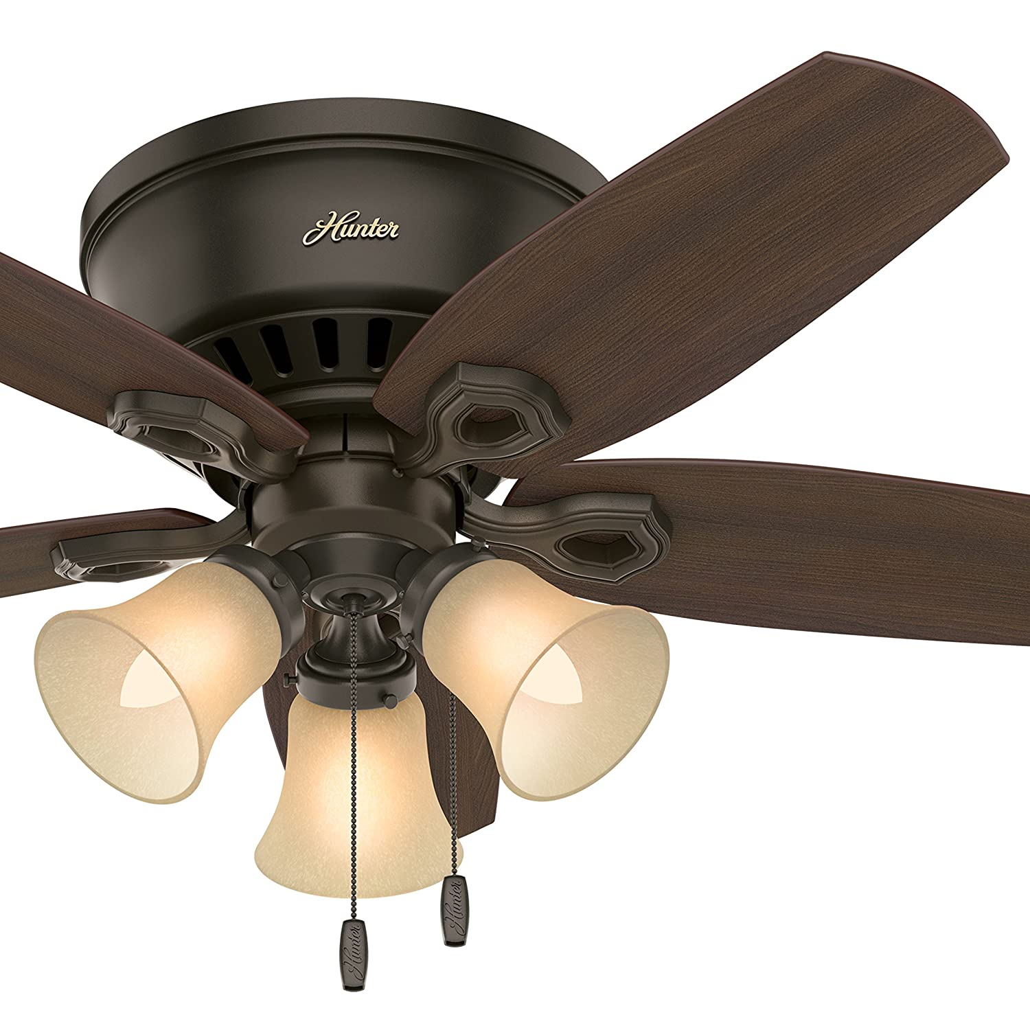 Hunter Fan 42 inch Low Profile Traditional Ceiling Fan in New Bronze – Three-Light Fitter with Cased White Glass Renewed New Bronze