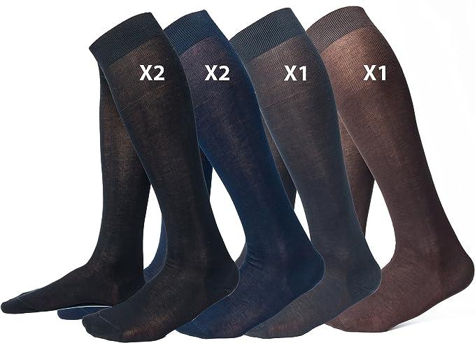 Ciocca Calcetines Hasta la rodilla hombre, 100% algodón mercerizado Filo di Scozia de alta calidad - 6 pares - tres tallas: Amazon.es: Ropa y accesorios