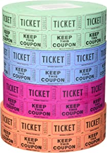 Indiana Ticket Company 56759 Raffle Tickets, (4 Rolls of 2000 Double Tickets) 8, 000 Total 50/50 Raffle Tickets,(Assorted Colors)