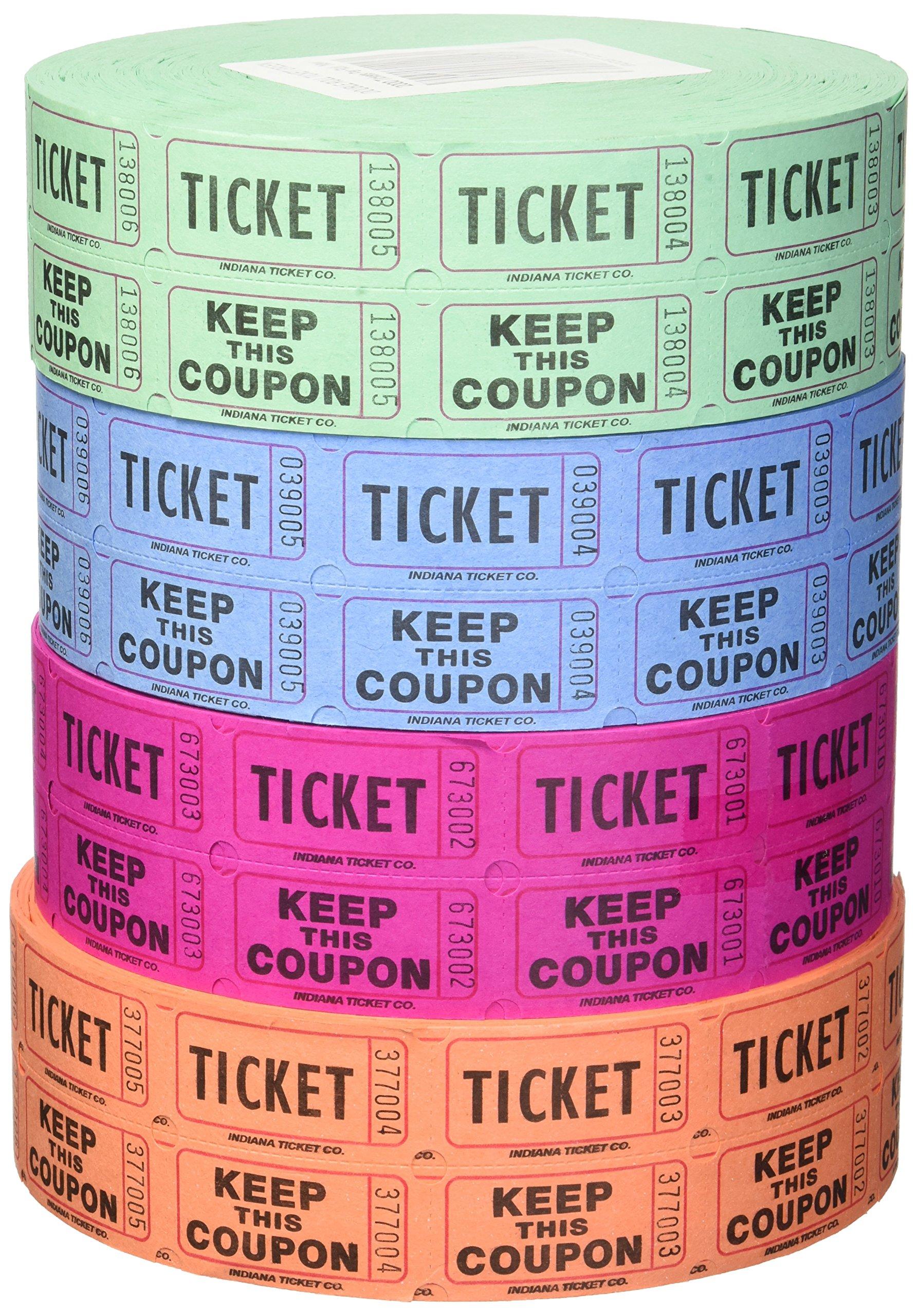 Indiana Ticket Company 56759 Raffle Tickets, (4 Rolls of 2000 Double Tickets) 8, 000 Total 50/50 Raffle Tickets, Assorted by Indiana Ticket Company
