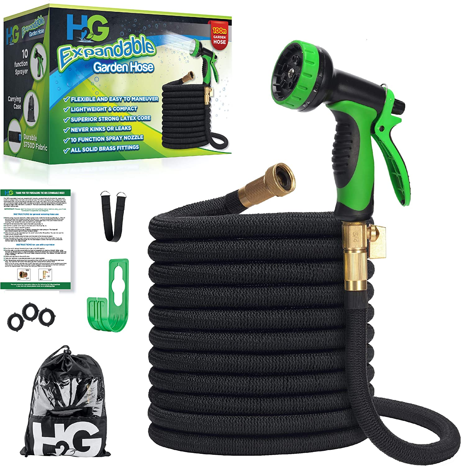 H₂G Flexible Garden Hose 100ft | New 2020 Expandable Superior Strength Lightweight Retractable Water Hose 100 ft | Expanding Black Flex No Kink Shrinking Hoses | 3/4 Brass Connectors | 10 Mode Sprayer