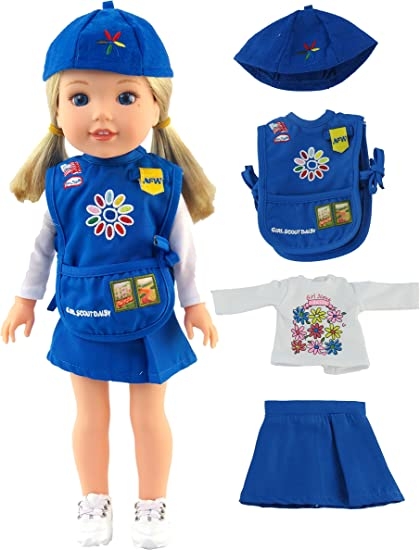 "14/"" Wellie Wishers Doll Clothes//Clothing 5 PC Girl Scouts Brownie Outfit//Uniform"