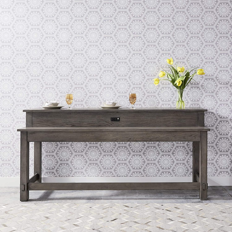 Liberty Furniture Industries Modern Farmhouse Console Bar Table, W78 x D21 x H37, Dusty Charcoal