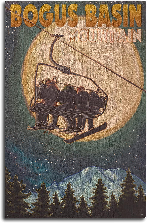 Lantern Press Bogus Basin, Idaho - Ski Lift and Full Moon with Snowboarder (10x15 Wood Wall Sign, Wall Decor Ready to Hang)
