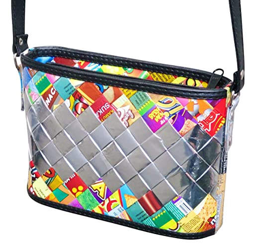 426d48b1fd Crossbody bag made of candy wrappers - FREE SHIPPING - vegans recycled  handmade wrapper vegetarians upcycle recycle Fair trade ethical fun present  inspiring ...