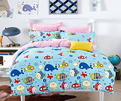 Cliab Under The Sea Bedding Twin Ocean Adventure Fish Pink And Blue Boys Girls  Bed Sheets
