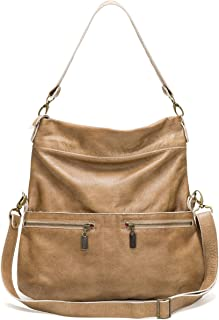 product image for Golden Tan Italian Leather Large Convertible Foldover Crossbody