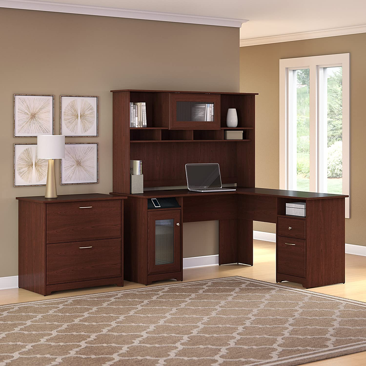 Amazoncom Bush Furniture Cabot L Shaped Desk With Hutch And