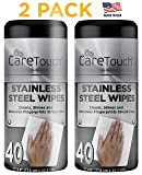 Care Touch Stainless Steel Wipes, Streak Free Wipes for One-Step Cleaning, Shining, and Protecting, 2 Pack, 40 Wipes Each