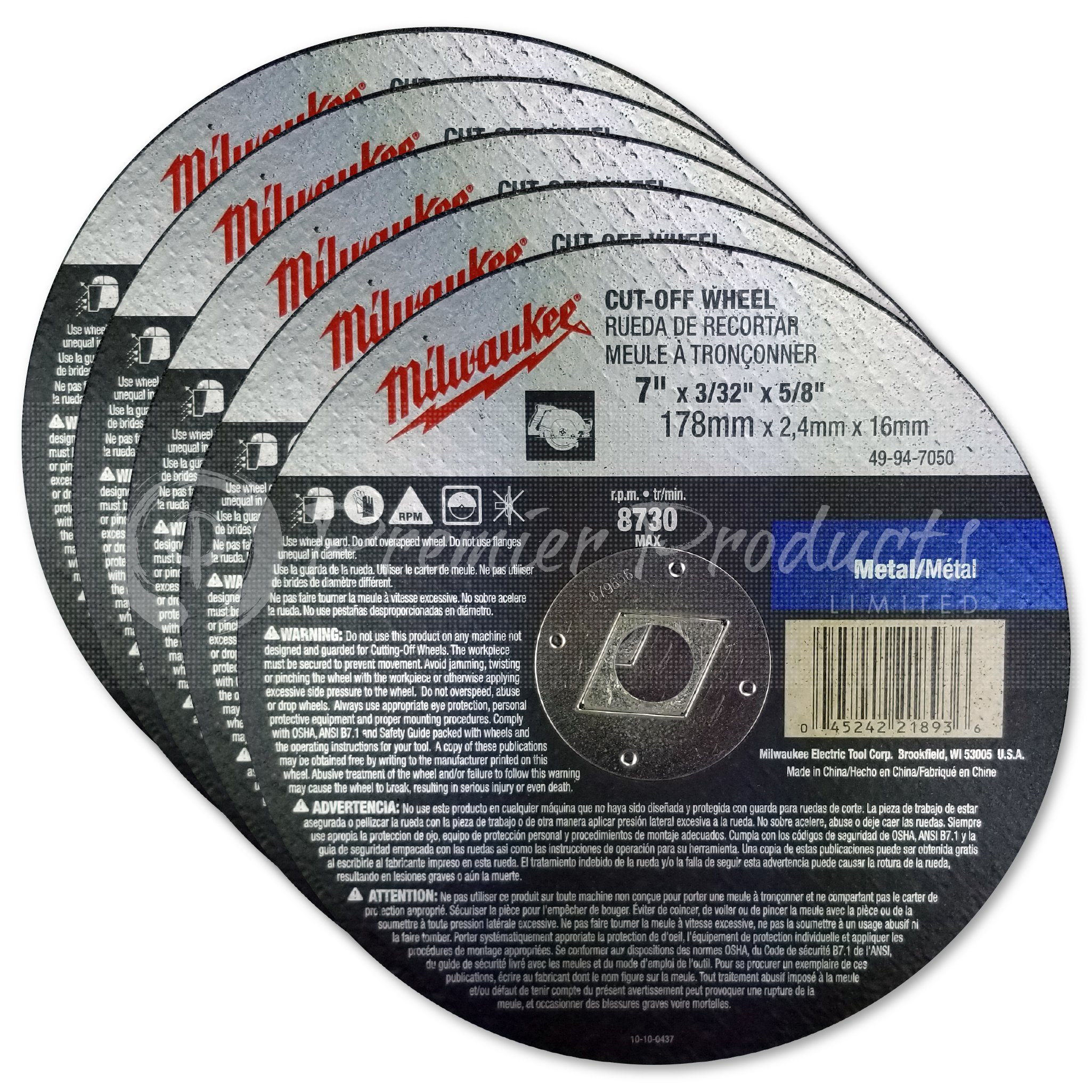Milwaukee 5 Pack - 7 Inch Cut Off Blades For 7.25'' Circular Saws - Aggressive Cutting For Metal & Stainless Steel - 7'' x .09 x 7/8-Inch