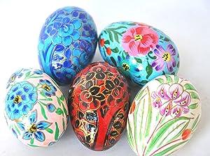 "Crossing Seven Seas 3"" Set of 5 Hand Painted Easter Eggs, Paper Mache Ukrainian Garden Flowers Home décor"