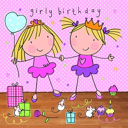Twizler Happy Birthday Card For Girl Girly Twins Party Presents