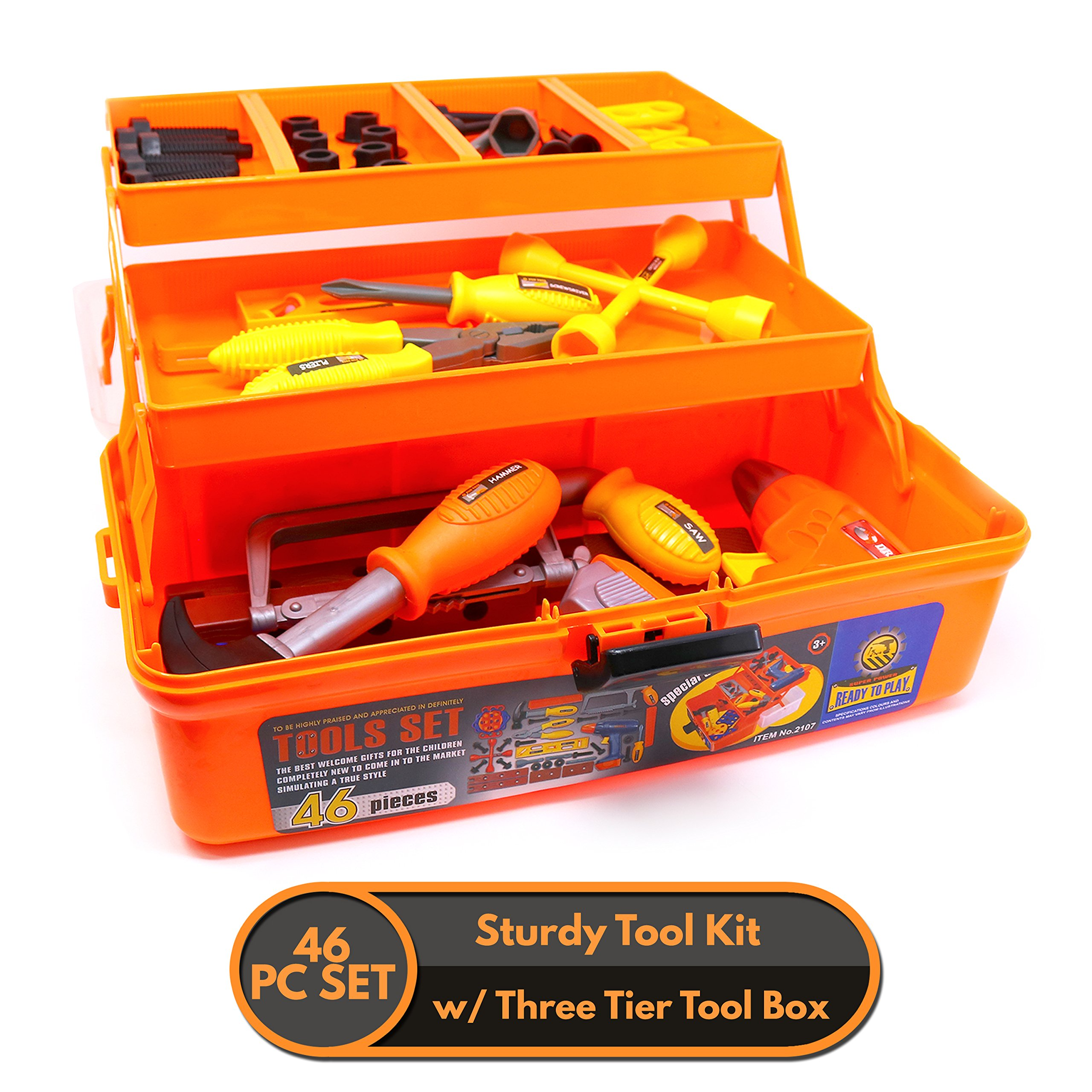 Big Mo's Toys 46 Piece Toy Tool Box and Kid's Tool Kit - Includes Drill, Hammer, Saw, Tri Level Case and Many Construction and Building Tools and Accessories by Big Mo's Toys (Image #2)