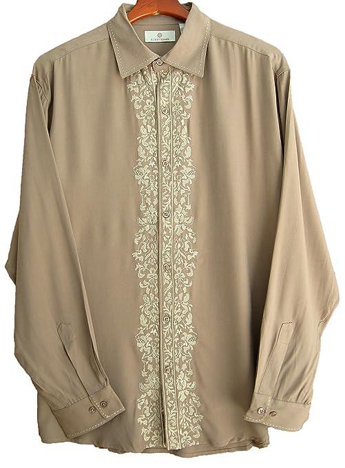 1950s Style Mens Shirts  Silk Long Sleeve Retro Vintage Shirt  AT vintagedancer.com