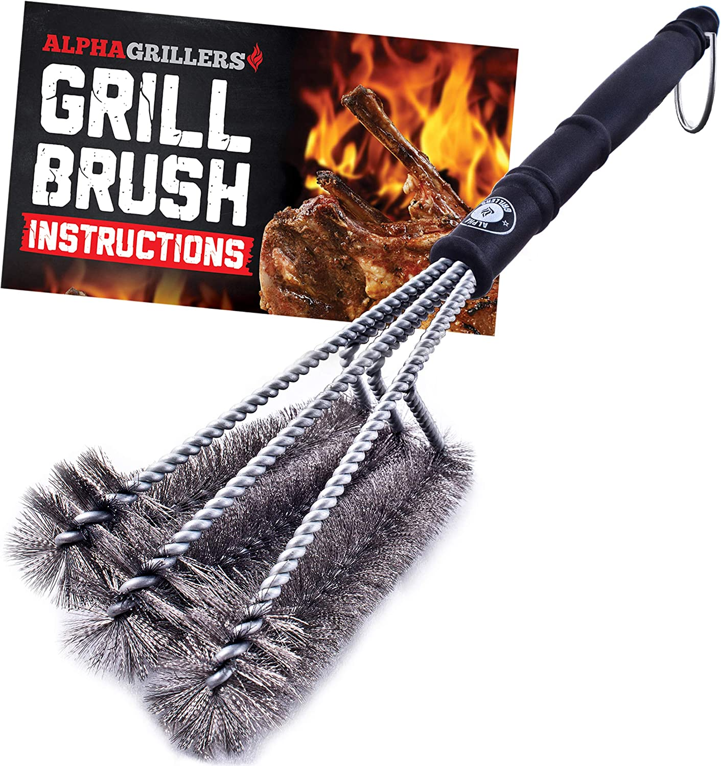 """Alpha Grillers 18"""" Grill Brush. Best BBQ Cleaner. Safe for All Grills. Durable & Effective. Stainless Steel Wire Bristles and Stiff Handle. A for Barbecue Lovers. : Garden & Outdoor"""