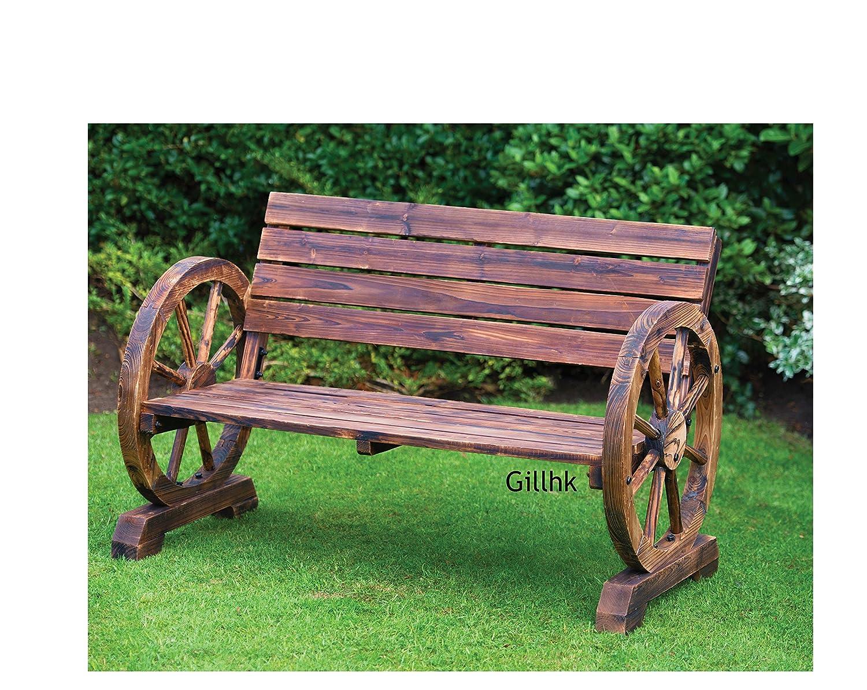 Banc 2 Places En Bois Design Roue De Wagon Style Br L Amazon Fr  # Banc En Bois Brule