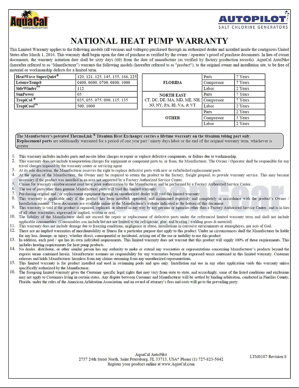 AquaCal Tropical T75 Heat Pump 72,000 BTU T075AHDSBLH 220v R410A 1 Phase 60 Hz