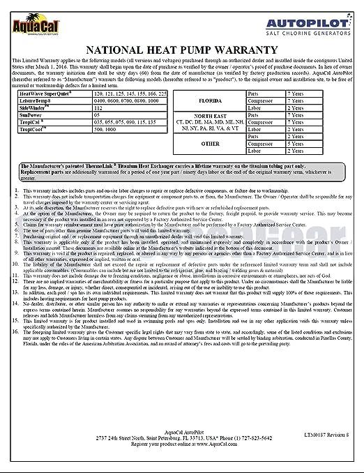 AquaCal HeatWave SuperQuiet SQ145 Heat Pump 119, 000 BTU