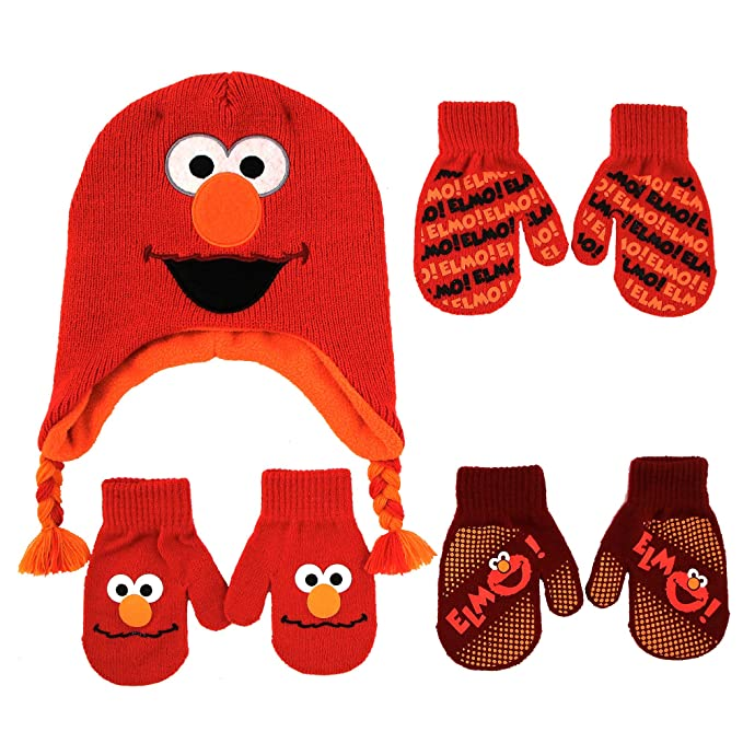 7a6dc93d70640 Image Unavailable. Image not available for. Color  Sesame Street Elmo  Character Hat and 3 Pair Mittens Cold Weather Set