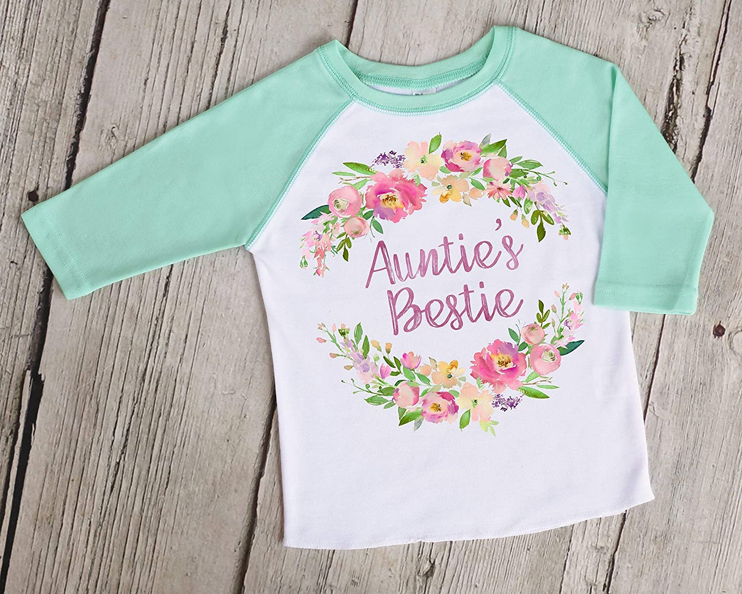 Auntie CUSTOM NAME Is My Bestie Toddler Baby Childs T Shirt Top Style Aunties
