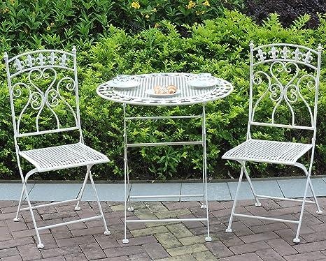 GlamHaus Salon de Jardin 3 pièces Pliant en métal avec Table ...