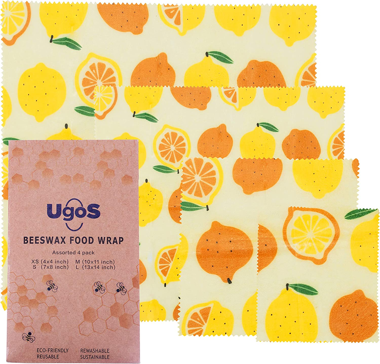 UGOS Organic Beeswax Food Wraps – Reusable Bees Wax Paper Wrap, Assorted 4 Pack (Lemons)