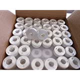 Doublelin, Prewound bobbins, Plastic sided, SIZE A, Class 15, 15J, Brother SA156, 144pcs, White color, 100% Polyester, 75/D2 140 yards, Works on Babylock, Berenia, Brother, Janome, Juki, Pfaff, Singer
