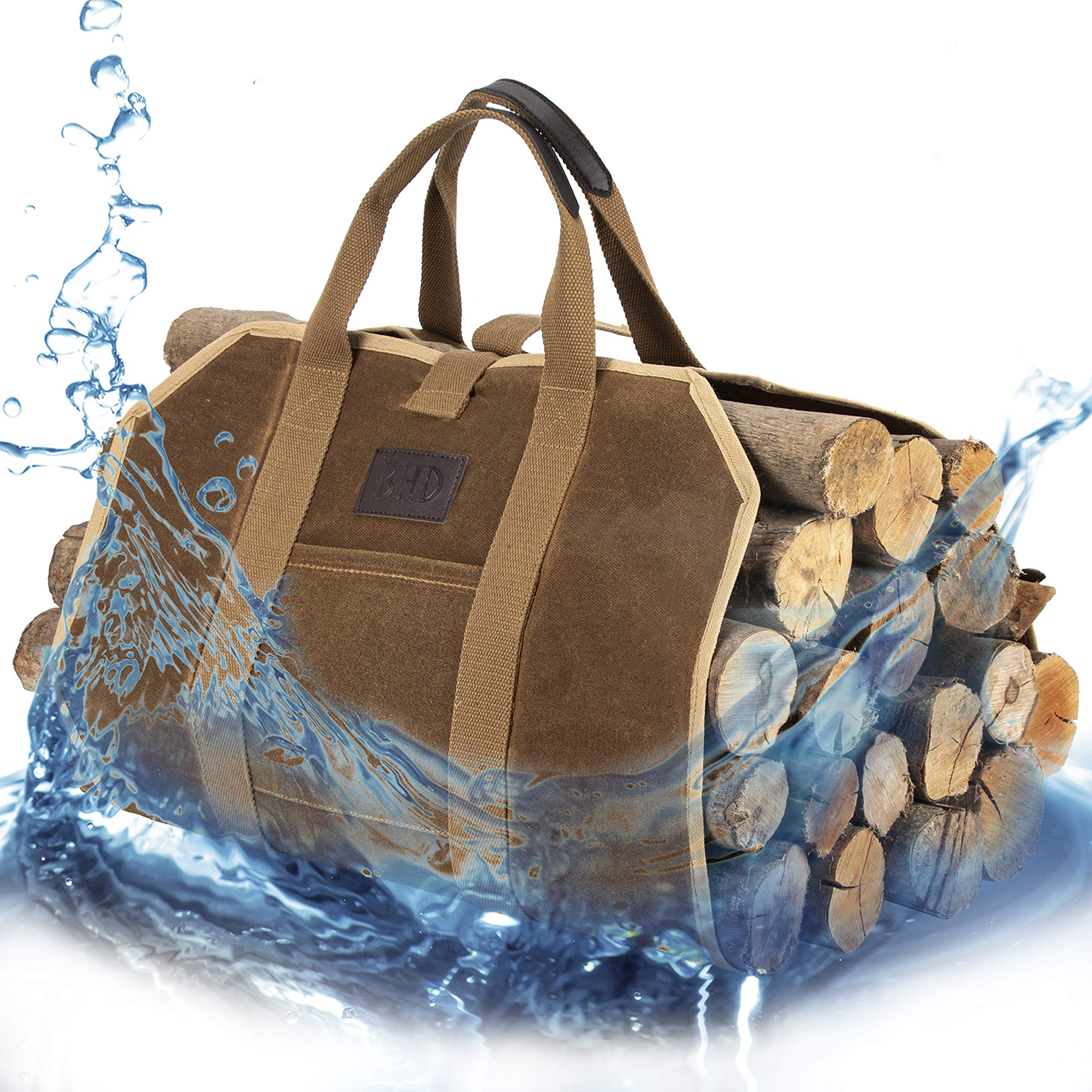 BHD Firewood Fireplace Carrier Logs Tote Holder 20 oz Waxed Canvas Sturdy Bag with Handles for Camping Indoor Outdoor by BHD BEAUTY