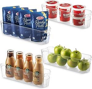 Set Of 4 Refrigerator Organizer Bins - Stackable Fridge Organizers for Freezer, Kitchen, Cabinets - Clear Plastic Pantry Storage Rack - Food Storage Bins with Handle 14.5