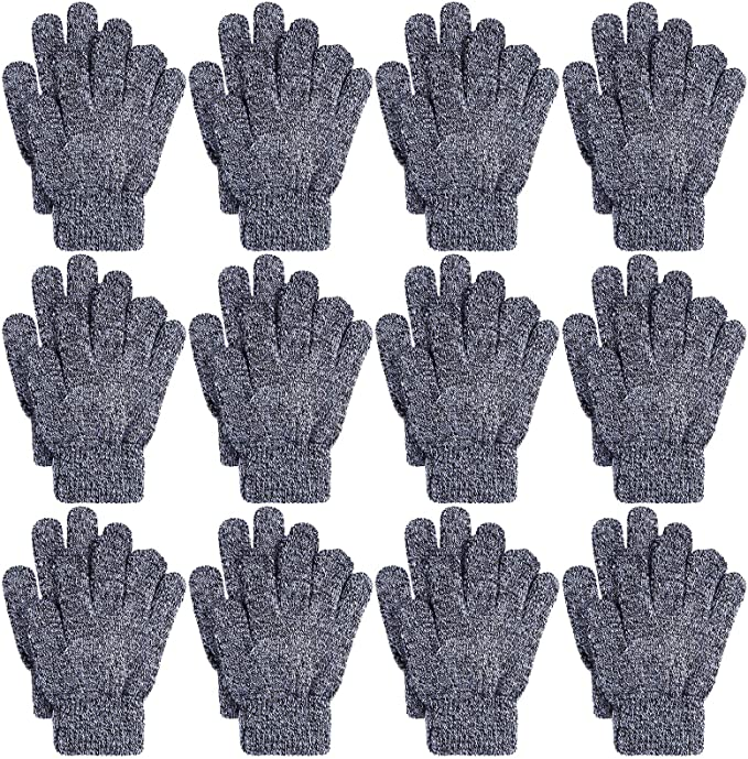 Cooraby 12 Pairs Kids Winter Gloves Mixed Knitted Warm Full Fingers Gloves for Boys or Girls