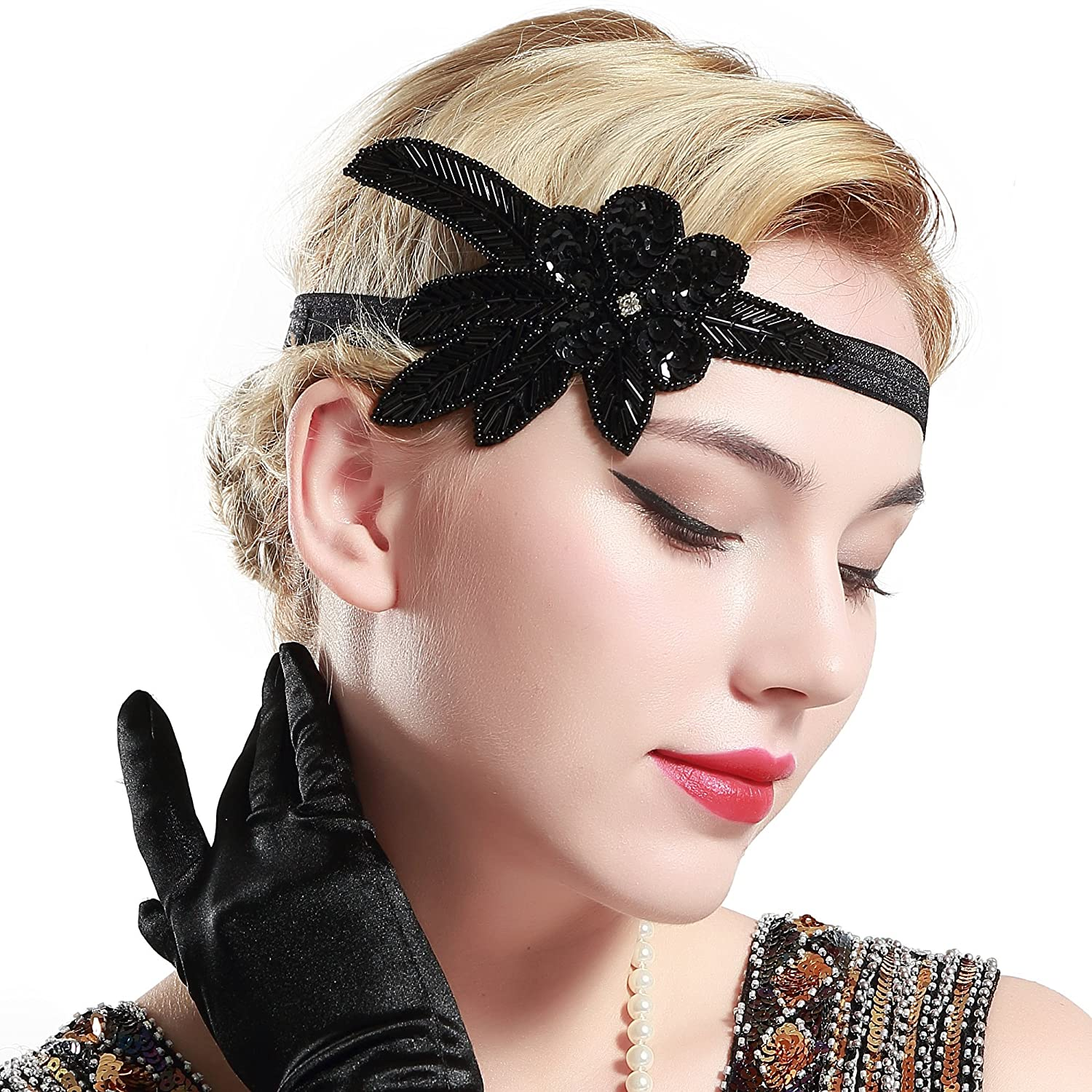 BABEYOND 1920s Flapper Applique Headband Beaded Great Gatsby Headpiece Vintage 20s Flapper Gatsby Hair Accessories (Black-1)