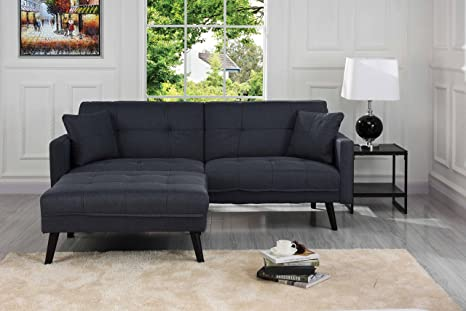 Sofamania Mid-Century Modern Linen Fabric Futon, Small Space Living Room  Couch (Dark Grey)