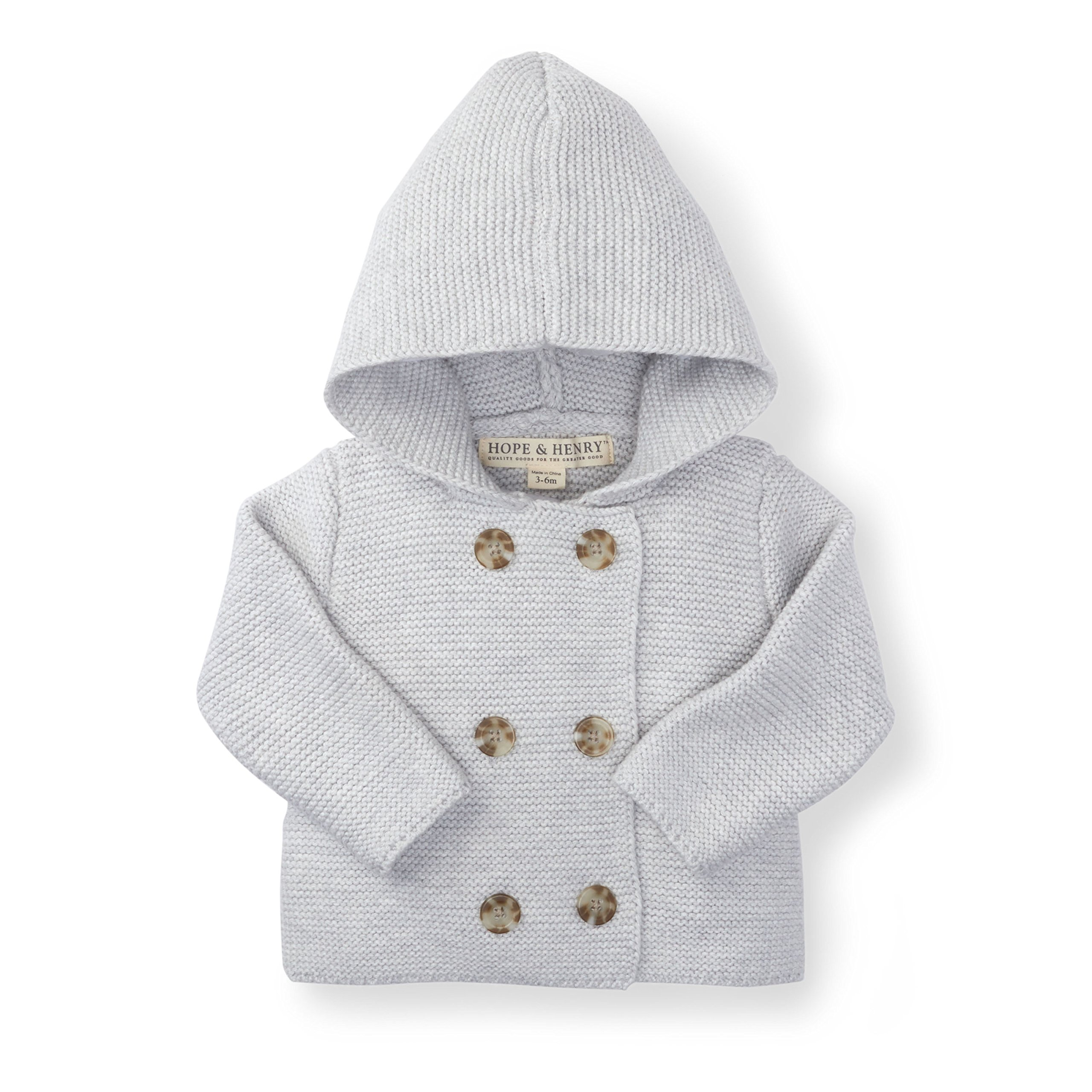Hope & Henry Layette Grey Baby Sweater by Hope & Henry