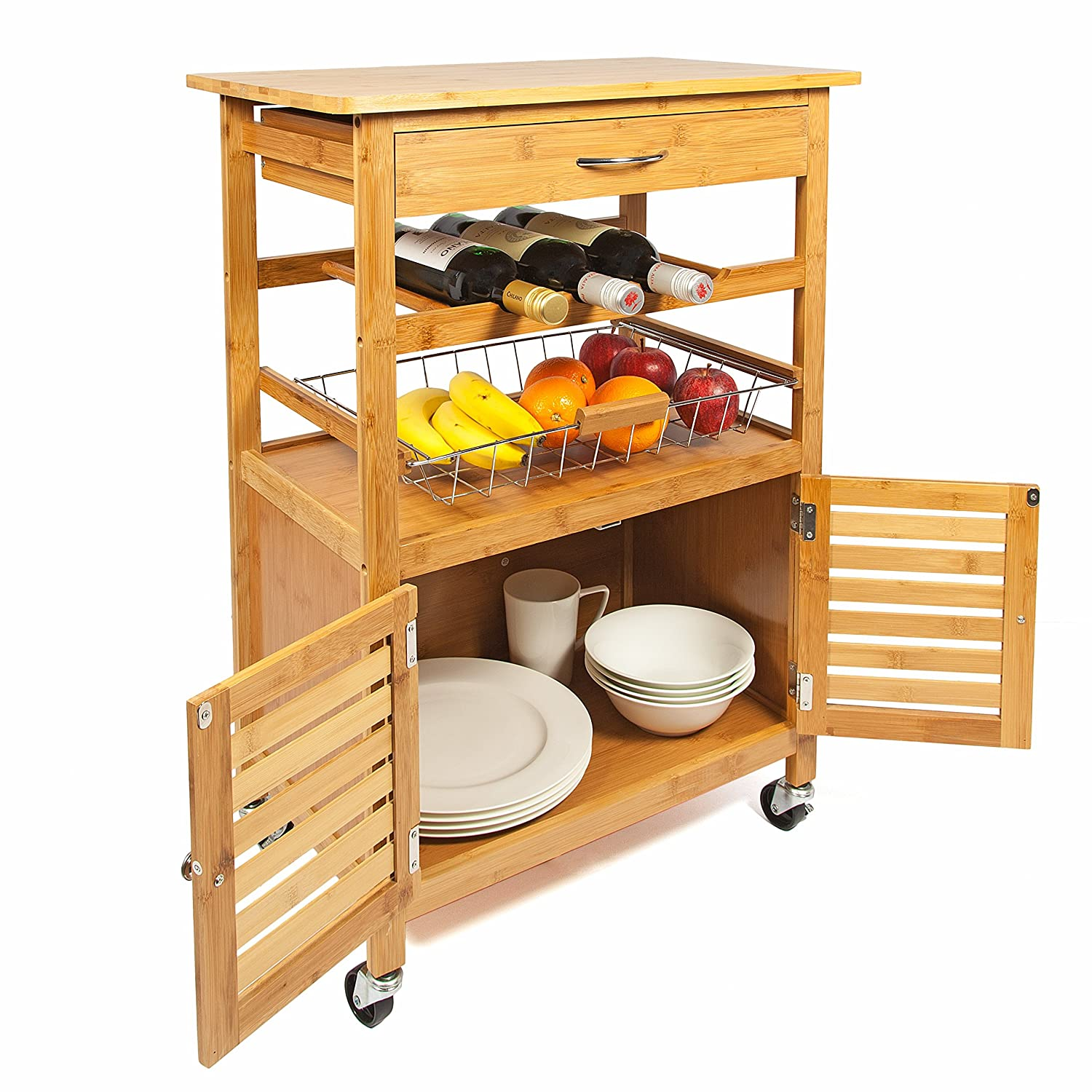 Woodluv Bamboo Kitchen Storage Trolley Cart with Drawer Amazon