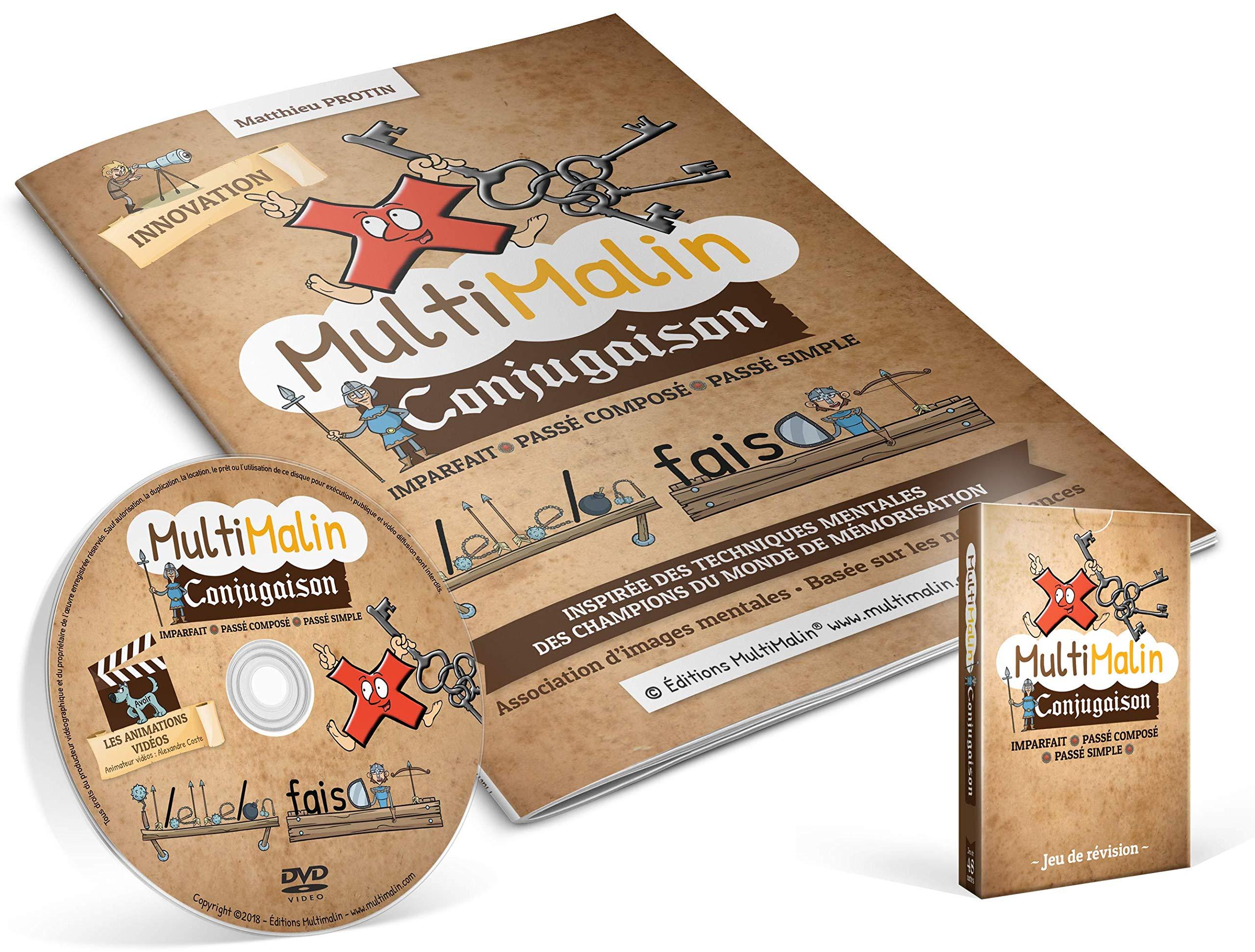 Amazon Fr Multimalin Conjugaison Imparfait Passe Compose Passe Simple Coffret Avec Un Cahier D Apprentissage 2 Jeux De 48 Cartes Et Un Dvd 1dvd Protin Matthieu Livres
