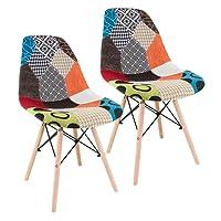Fashion Commerce 02-FC6744 Set Sedie Patchwork, Legno, Multicolore, 58x47x84 cm, 2 Unità