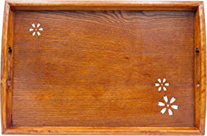 Japanese Style Classic Wooden Cherry Pattern Tea Tray, Rectangle