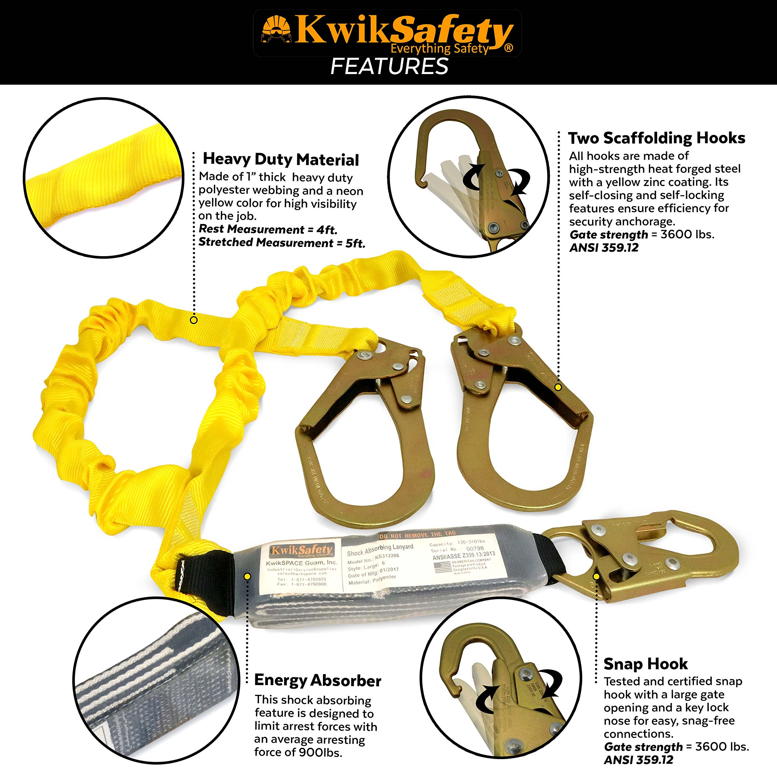 KwikSafety PYTHON   Double Leg 6ft Tubular Stretch Safety Lanyard   OSHA Approved ANSI Compliant Fall Protection   EXTERNAL Shock Absorber   Construction Arborist Roofing   Snap & Rebar Hook Connector by KwikSafety (Image #4)