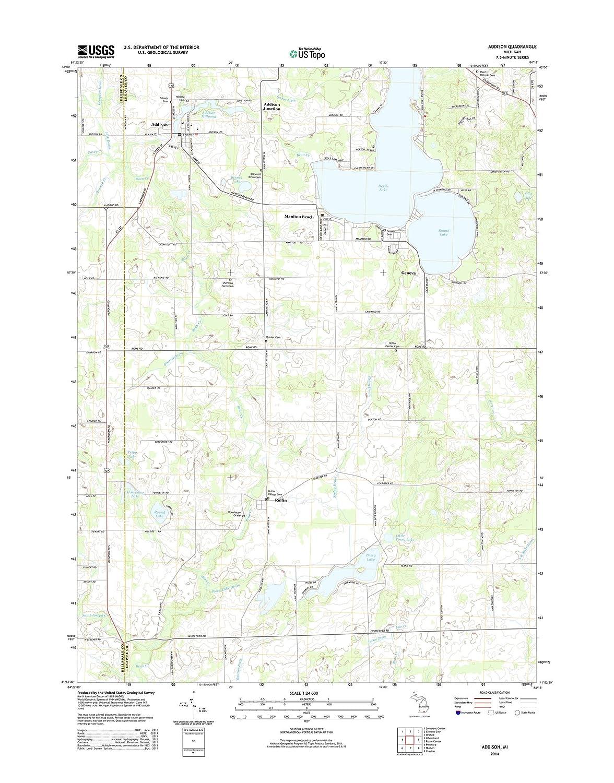 Addison Michigan Map.Amazon Com Topographic Map Poster Addison Mi Tnm Geopdf 7 5x7 5