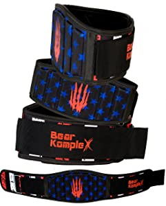 Bear KompleX Weightlifting Belt for Powerlifting, Cross Training, Squats, Weights and More. Low Profile with Super Firm Back for Maximum Stability. Easily Adjustable