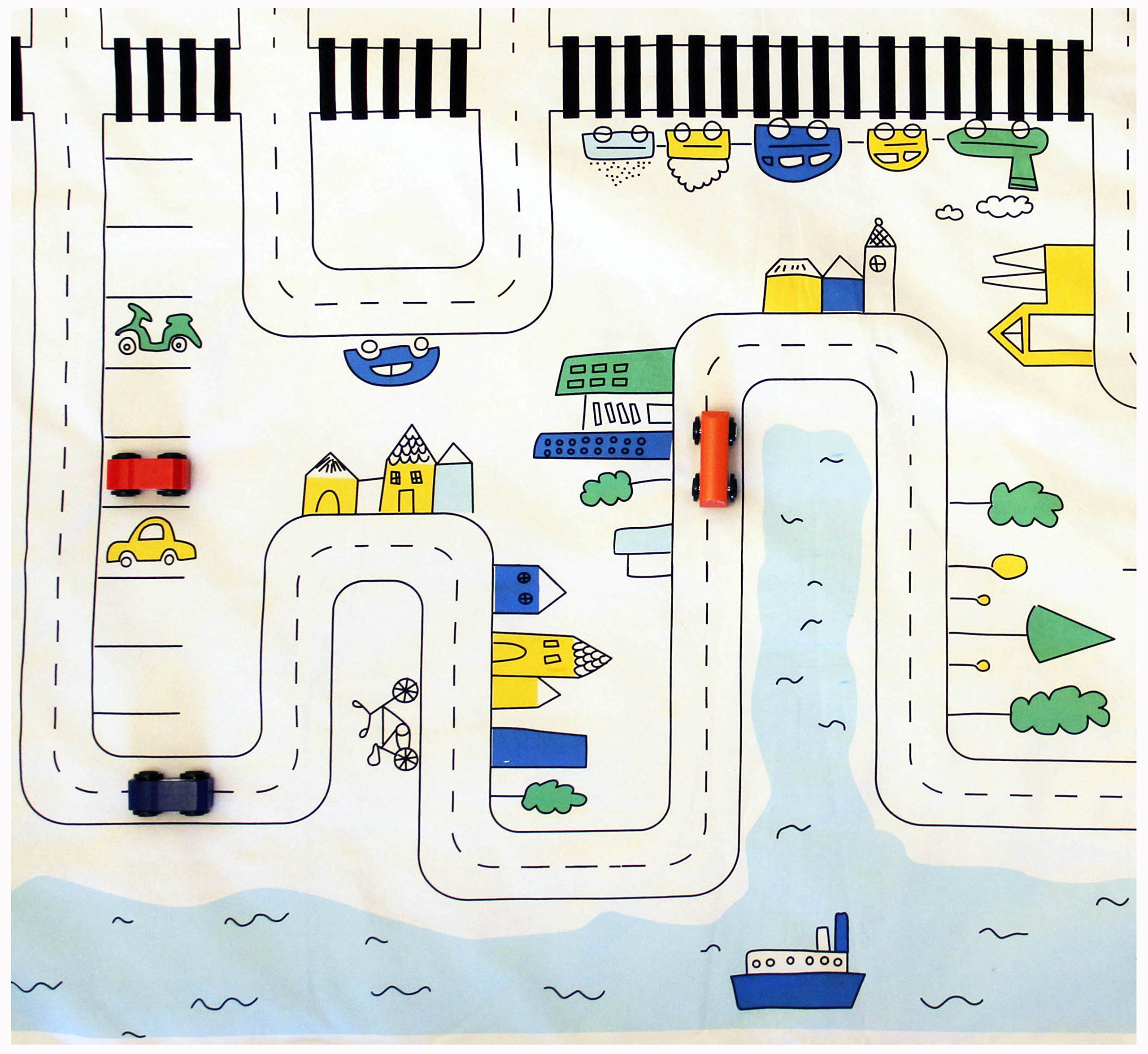 Cars Play Mat, Cotton ,City roads Rug, playing carpet, toddlers car roads play mat