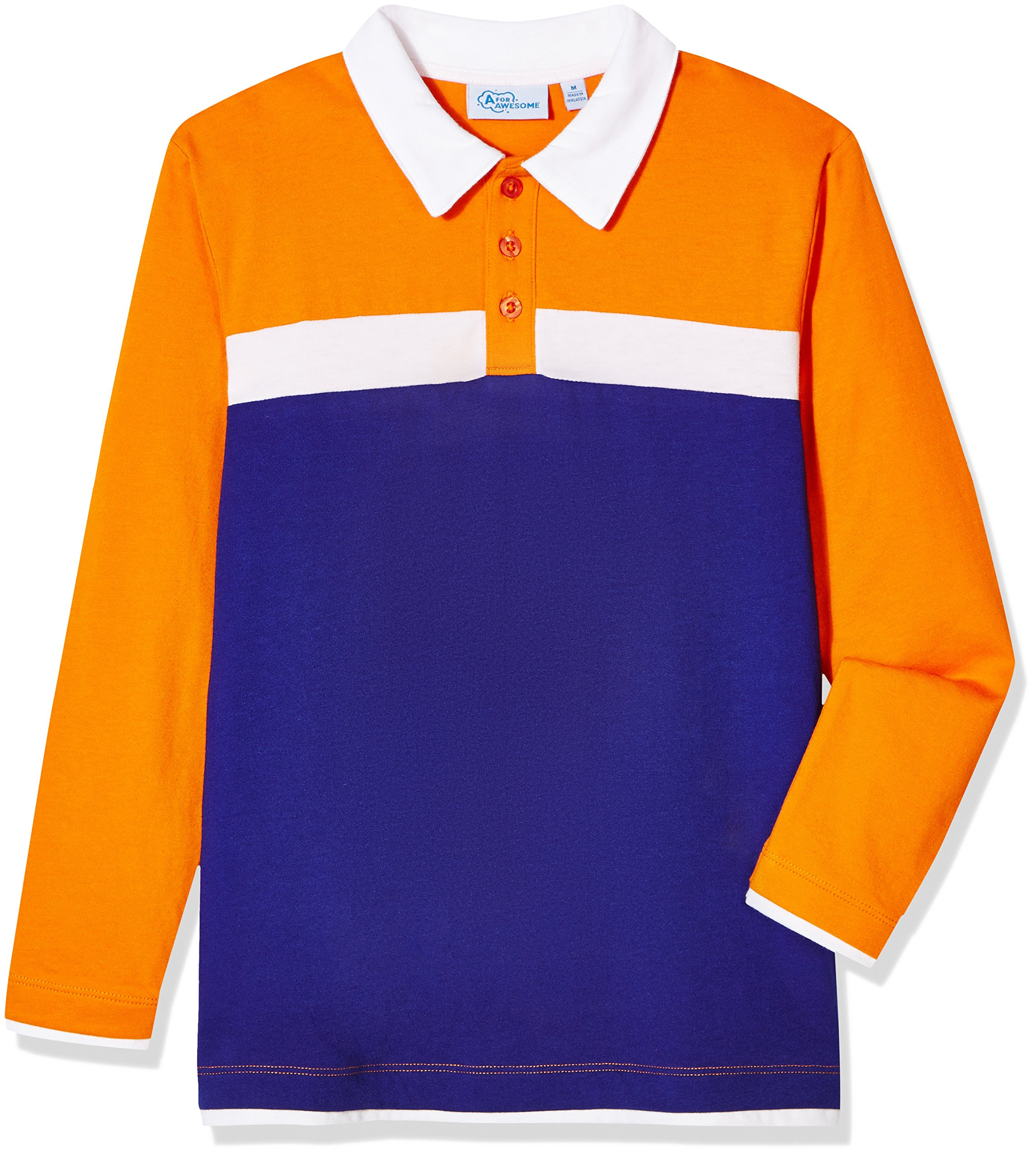 A for Awesome Boys Long Sleeve Cotton Jersey Blend Polo Short Large Orange