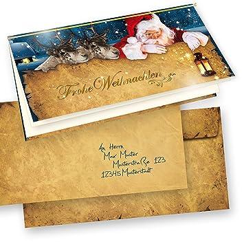 Einlegeblätter Für Weihnachtskarten.Nordpol Express Premium Weihnachtskarten Weihnachtsmann Set Mit Umschlag 10 Sets Klappkarten Grußkarten Selbst Bedruckbar Mit Einlegeblatt